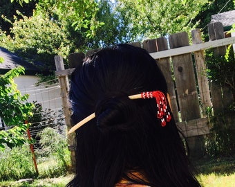 Beaded hair stick Native American hair stick Beaded hair pin Gifts for her Native designs Hair accessories Red black and white Wood
