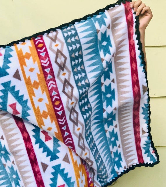 Seven Dwarves Hand Made Fleece Blanket with Crocheted Border