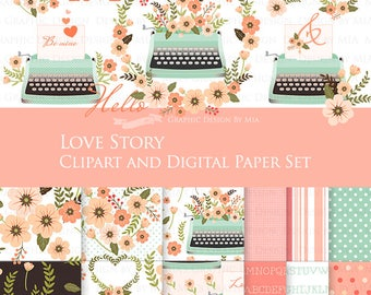 Mint Typewriter, Love Story Mint and Peach Clip Art + Digital Paper Set   - Instant Download