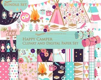 Happy Camper, Camping, Pink & Blue Clip Art + Digital Paper Set - Instant Download