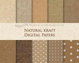 Natural Kraft Digital Paper Pack - Instant Download - DP065