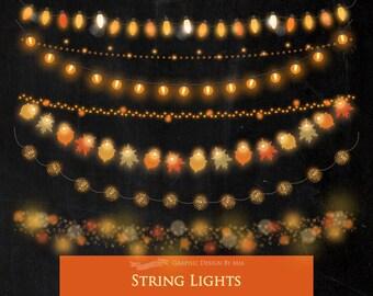 String Lights Clipart, Fairy Lights Clipart, Party Lights Clipart, Fall Lights Clipart, Autumn String Lights, String Lights - CA174