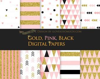 Gold, Pink, Black / Glitter Digital Paper Pack - Instant Download - DP072