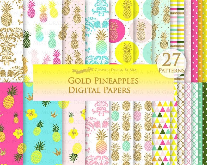 Gold Pineapple Luau Gold Glitter Hawaiian Party Aloha Pineapple Digital Paper Set Pineapple Clip Art