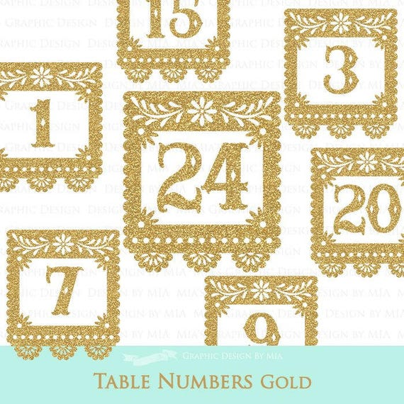 Gold Table Numbers Wedding Papel Picado Fiesta