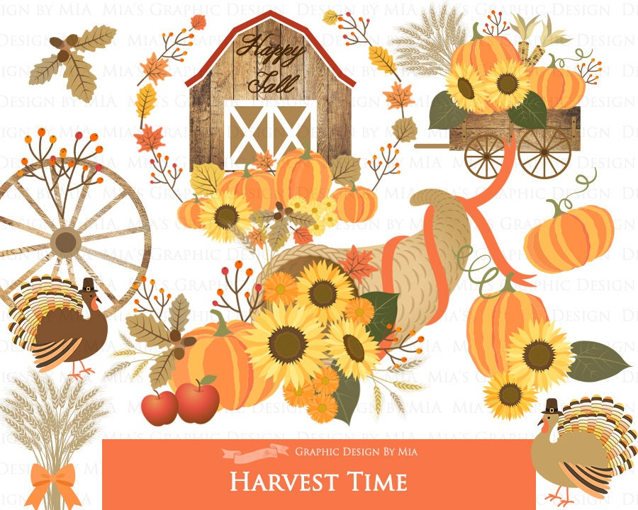 Thanksgiving Harvest Time Autumn Fall Clip Art Instant