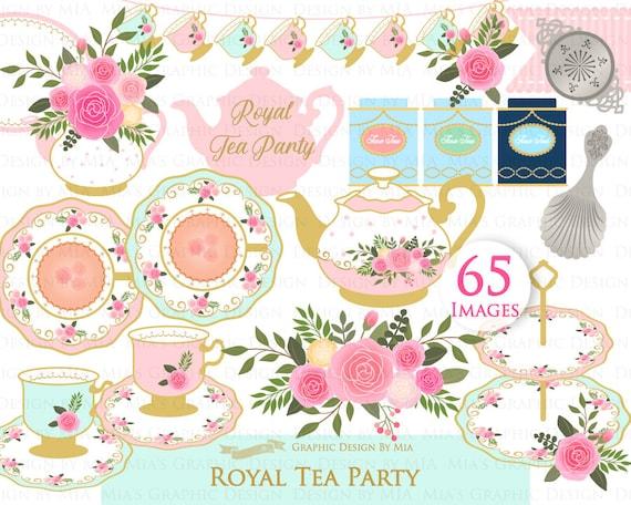 Tea Instant Download Rose Afternoon Tea Digital Paper Set Tea Cup Tea Party Pink /& Mint Tea Clip Art