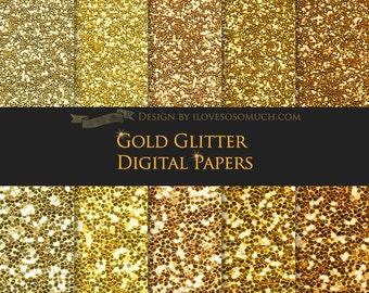 Gold Glitter Digital Paper Pack - Instant Download - DP056