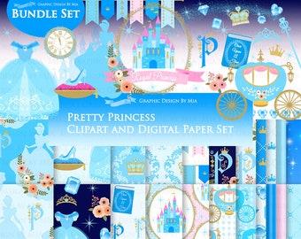 Princess, Princess Dress, Birthday Part, Princess Party, Royal, Blue, Princess Clip Art + Digital Paper Bundle Set