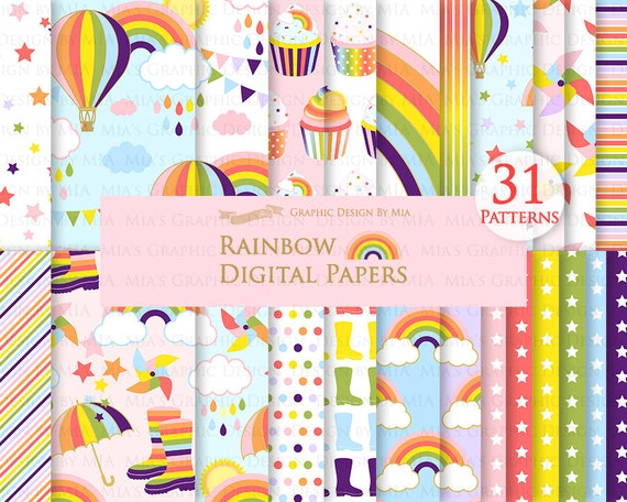 Rainbows Cute Rainbow Rain Clouds Colorful Rainbow Party Sun Sky Boots Umbrella Digital Paper Pack Instant Download Dp074 By Mia Graphic Desin Catch My Party