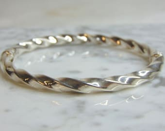Bone Coil Bangle Sterling SilverPAW Disc and 14kt Y.G