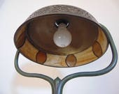 Antique Arts Crafts Tiffany Studios Stained Slag Glass Standing Lamp