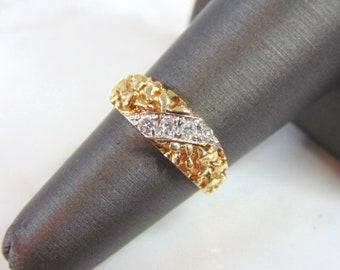 Mens Vintage Estate 10k Yellow Gold Nugget Ring 5.0g E2450