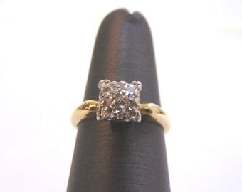 Womens Vintage Estate 14K Yellow Gold & Diamond Cluster Ring 3.0g E1851