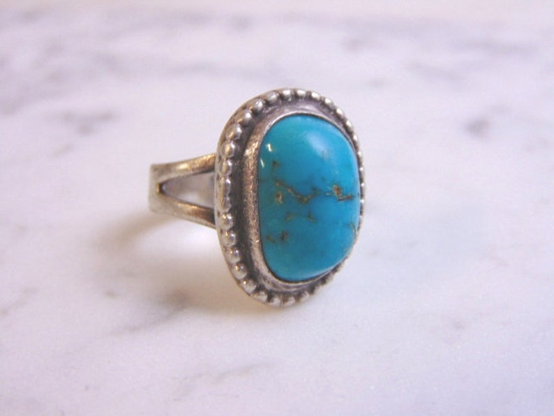Vintage Estate Sterling Silver Turquoise Native American Ring 9.9g E2529