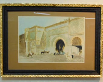 """Vintage Antique Aquatint Etching Print by French Artist Maurice Romberg """"Meknes"""""""