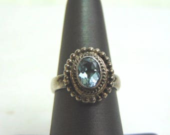 Womens Sterling Silver .925 Ring w/ Topaz Colored Stone 6.4g #E3684