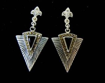 Pr of .925 Sterling Silver & Black Onyx Dangle Earrings 7.2g E2128