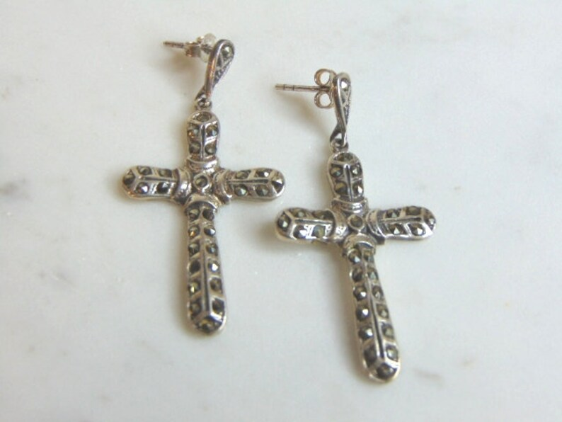 Womens Vintage Estate .925 Sterling Silver Cross Earrings 7.9g #E718