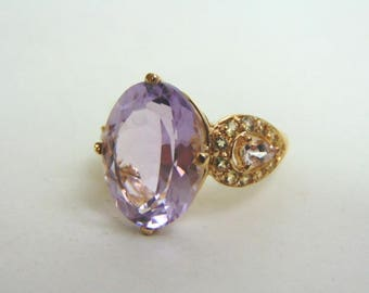 Womens Estate 14K Yellow Gold Ring w/ Amethyst Stone ? 5.8g #E3638