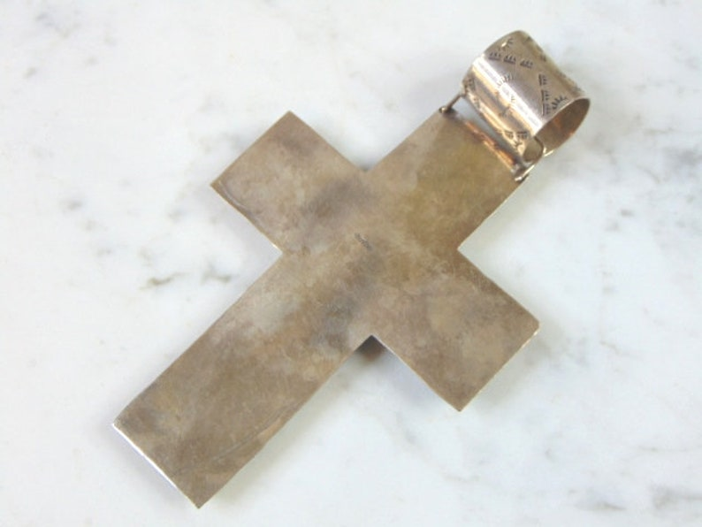 Womens Vintage Estate Sterling Silver Multi-Stone Cross Pendant 53.3g E2732