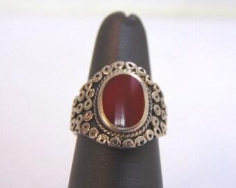 Womens Vintage Estate Sterling Silver Carnelian ? Ring 7.3g E1559