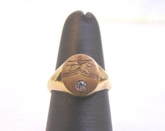 Women's Vintage Estate 10K Yellow Gold Pinky Ring w/ Diamond 2.8g E1904