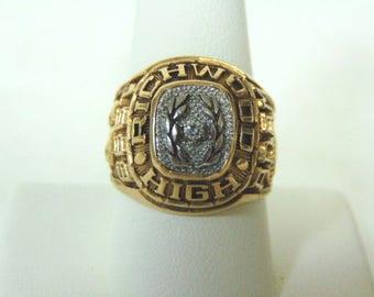 Mens Vintage Estate 10K Gold Richwood High Class Football Ring w/ Diamond 1998, 18.4g, E1123
