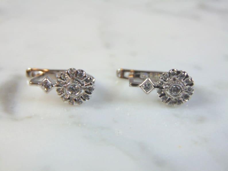 Womens Vintage Estate Sterling Silver CZ Earrings 2.6g E1845