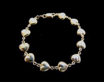Womens Vintage Estate 14K Yellow Gold Heart Bracelet 4.2g E1835