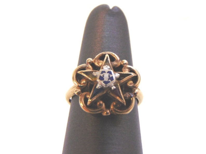 Womens Vintage Estate 10k Yellow Gold Eastern Star Masonic Ring, 3 0g E1997