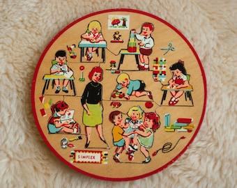 Vintage wood puzzle Simplex toys - retro wood jig saw puzzle- kindergarten - teacher - children - classroom - made in holland - kids toy