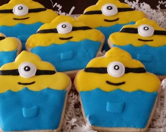 Minion Inspired Cookies,  Character Cookies,  Children's Birthday Cookies,  Party favors