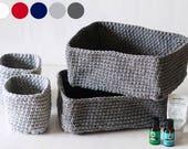Crochet basket set, 2 medium 2 small, bathroom storage, nursery storage, rectangle basket, desk organizer, gift set, T-shirt yarn basket