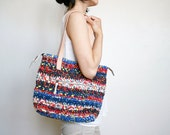 Blue crochet purse, red crochet bag, upcycled bag, upcycled purse, tote bag with zipper, kimono bag, repurposed bag, recycled bag