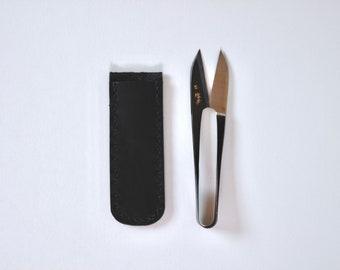 Leather scissor case, Japanese scissor case, thread cutter cover, thread snips case, scissor cover, sewing tool, holiday gift, gift for her