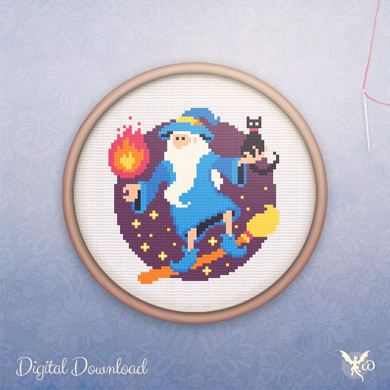 Geeky Cross Stitch  Modern Wizard & Cat Cross Stitch Pattern image 0