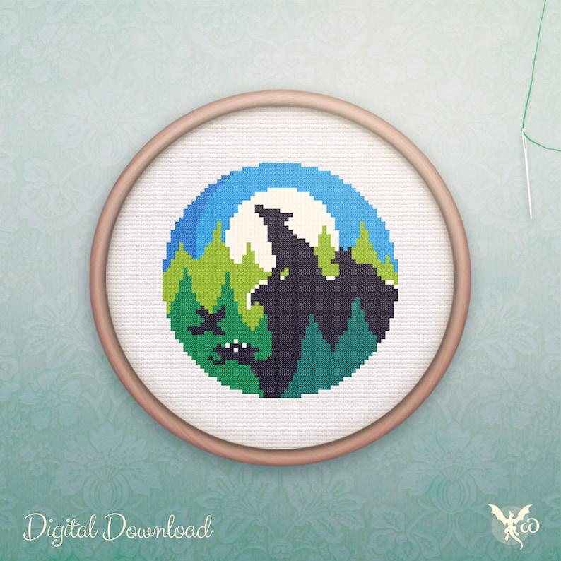 Animal Cross Stitch  Modern Wolf Cross Stitch Pattern  image 0