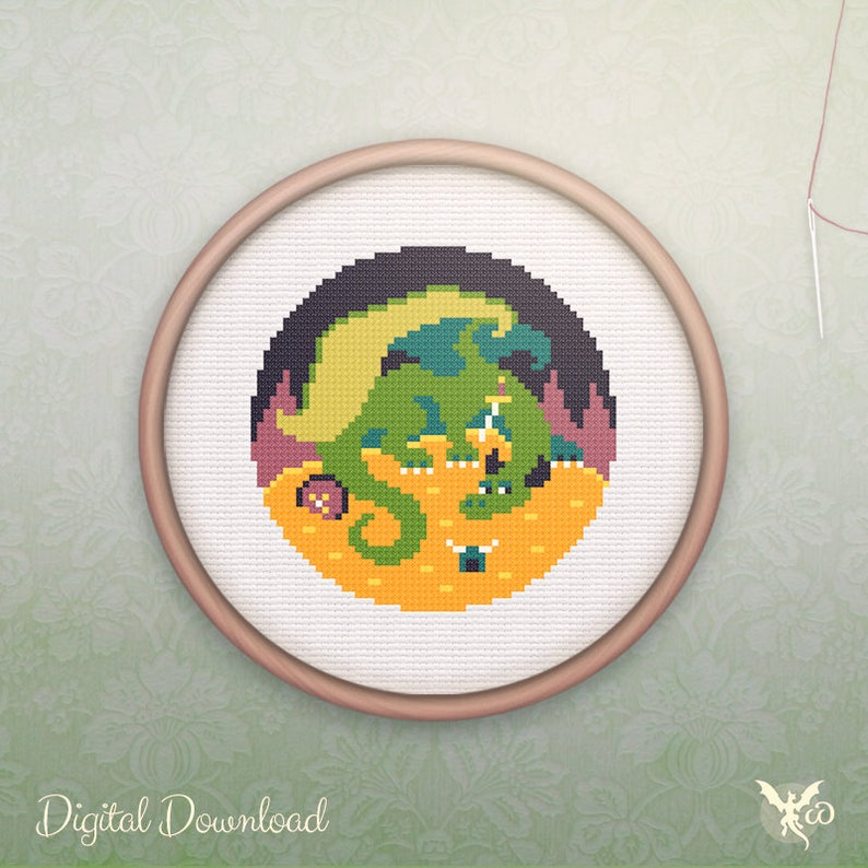 Geeky Cross Stitch  Modern Dragon Cross Stitch Pattern  image 0