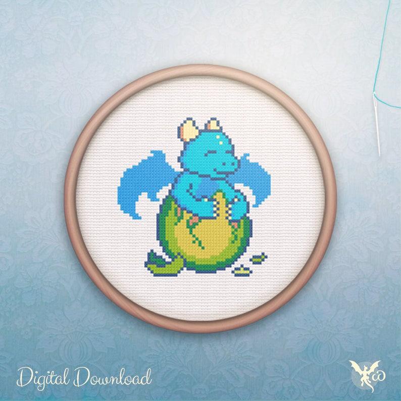 Kawaii Cross Stitch  Modern Easter Dragon Cross Stitch image 0