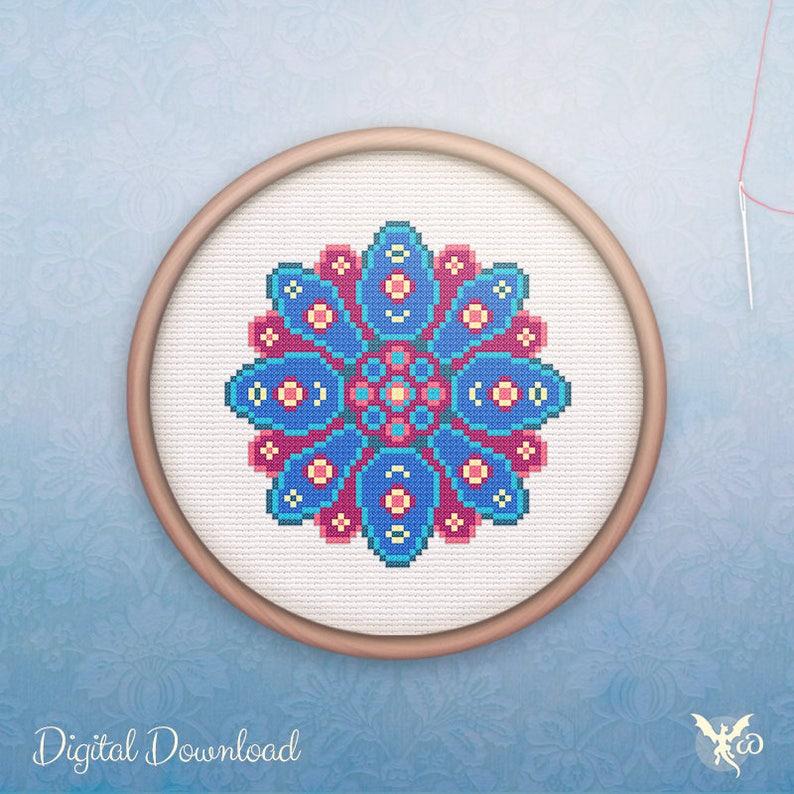 Mandala Cross Stitch  Modern Geometric Cross Stitch Pattern  image 0