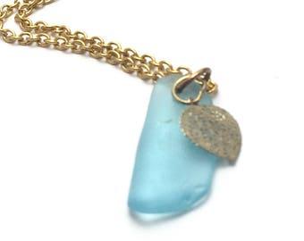 Turquoise Beach Glass, Beach Glass Pendant, Sea Glass Jewelry, Sea Glass Necklace, Sea Glass Pendant, Turquoise Jewelry, Gold Jewelry, Charm