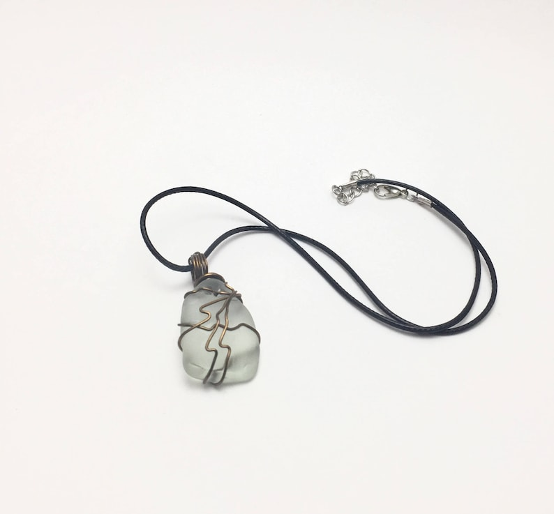 Wire Wrapped Sea Glass Sea Glass Necklace Beach Glass