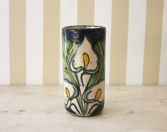 Hand Painted Mexican Tumbler / Bud Vase with Lillies