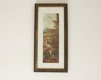Long Framed Pastoral Silk Painting