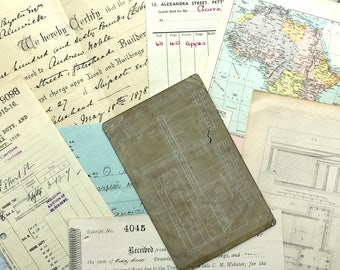 A collectable supply of vintage ephemera: receipts, map page and postcard.