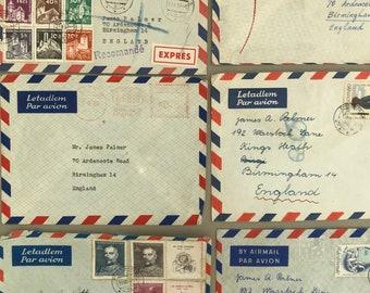 Airmail envelopes ephemera. Six graphic airmail envelopes. 1950s and 1960s.