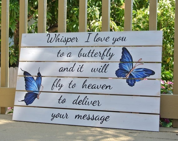 Gift for Mom Christmas. Whisper I love You To A Butterfly Wooden Sign. Wall decor for Beach House