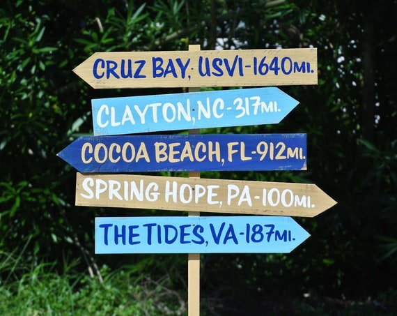 Direction Sign Family Gift. Beach House Decor. Yard Garden rustic wood signage. Mileage Destination sign post.