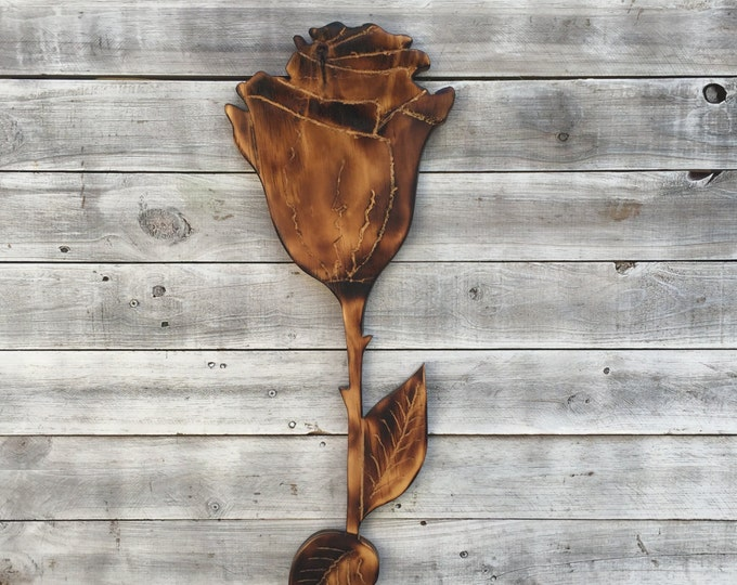 Unique Wooden rose wall art. Flower Wall Decoration. Hand Carved Wood Rose Flower. Wood burning gift idea for her.